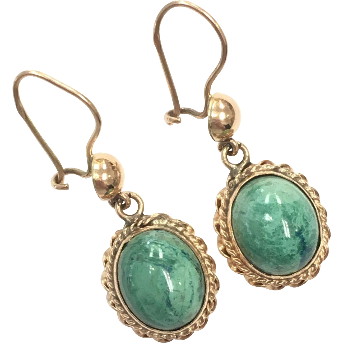 Vintage Pierced Turquoise Green Porcelain and Solid Gold Earrings