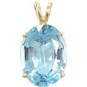 Vintage 14k Yellow Gold Pendant with Large Faceted Oval Blue Topaz