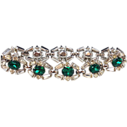 Vintage 1950s crown Trifari emerald green clear rhinestone cocktail bracelet