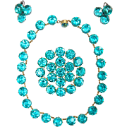 Spectacular 1930s Turquoise Faceted Crystal Necklace Pin and Earring Set