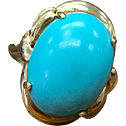 Vintage 14k Solid Yellow Gold Turquoise Cabochon Prong Set Ring
