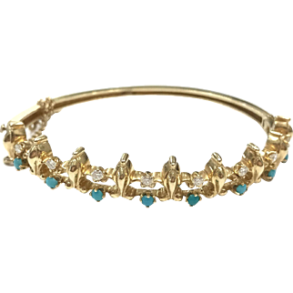 Vintage 1950s 14k Yellow Gold Hinged Bangle Bracelet with Persian Turquoise and Eight Diamonds with Maker's Mark