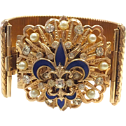 Vintage 1940s La Marquise Wide Bracelet with Blue Enamel Fleur-de-lis Motif with Rhinestones and Pearls in Original Box