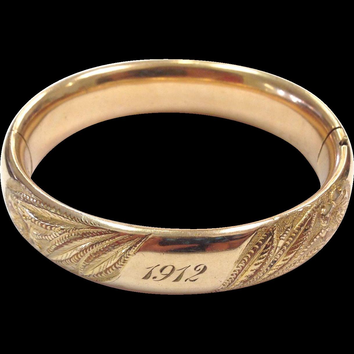 Vintage 1912 Victorian Engraved Gold Filled Hinged Bangle Bracelet
