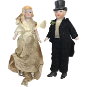 "Antique 1920s Wedding Cake Bisque 3 Inch Porcelain Couple Figures for Cake Topper or Figurine Collection, Marked ""Germany,"" Cir: 1910-1920"