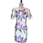 Vintage 1980s White and Pink Floral Iridescent Sequined Dress with Short Sleeves