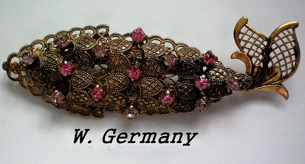 Austrian Crystal Filigree Fish Brooch from W. Germany