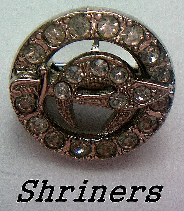 Shriners Lapel Pin with Clear Rhinestones