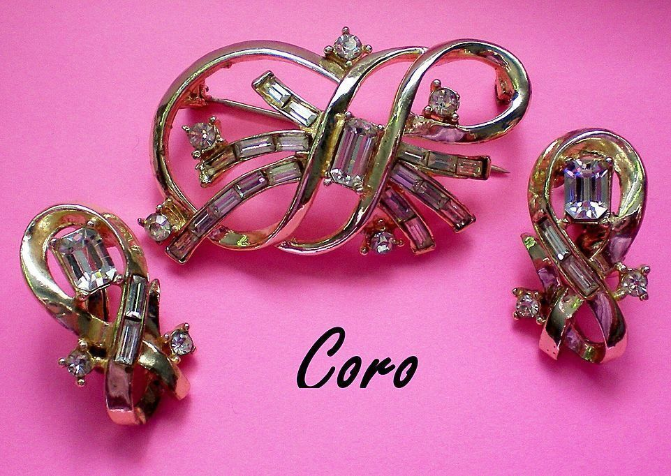 1950's Signed Coro Brooch & Clip Earrings