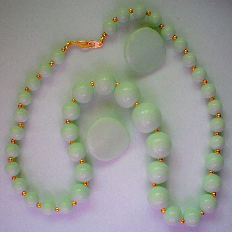 Pale Green Necklace & Pierced Earrings