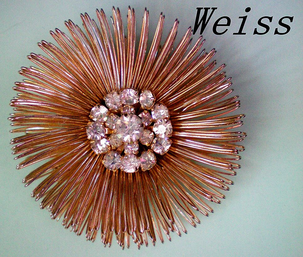 Weiss Wire Design Brooch, Rhinestone Center