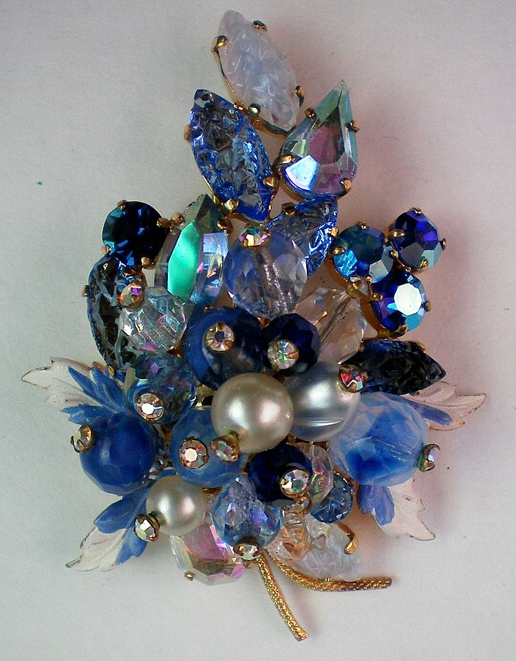 Juliana Blue Hues Fruit Salad Brooch