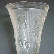 Jeannette Glass Iris & Herringbone Pattern Vase