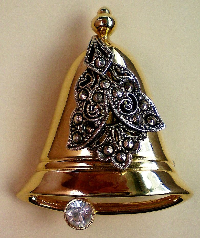 Christmas / Holiday Bell with Marcasites Accent - Signed Darlene