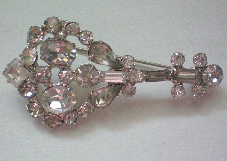 Rhinestone Brooch with Foil Backed Stones