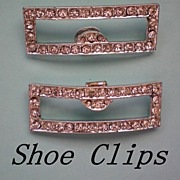 Vintage Rhinestone Shoe Clips in Rectangle Shape