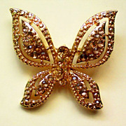 Gold Tone Butterfly with Amber Colored Rhinestones