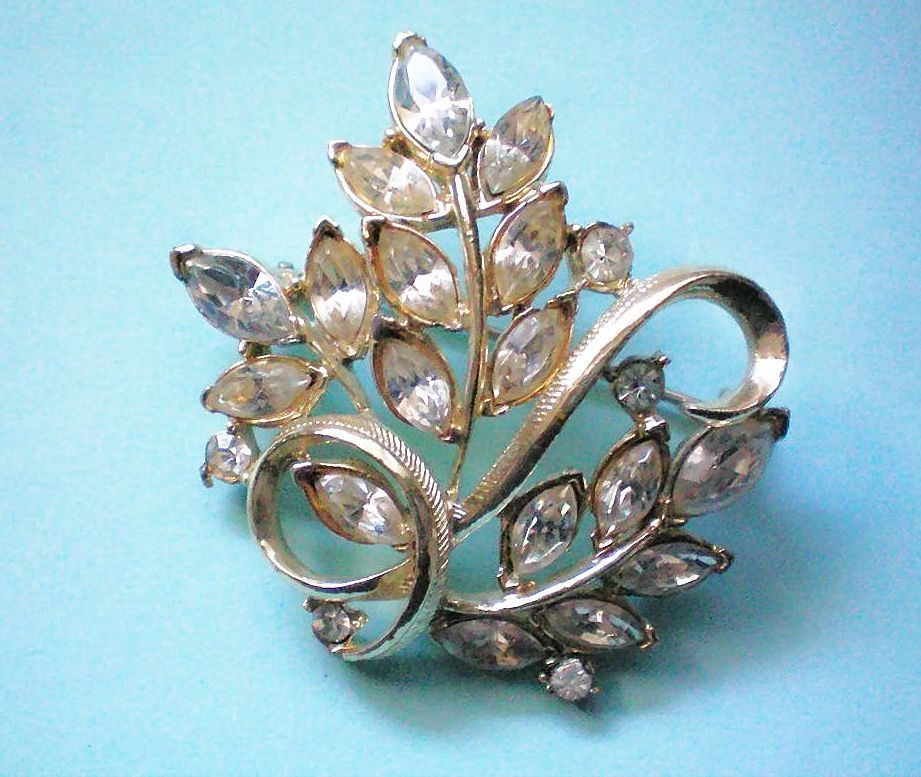Coro Marquis Rhinestone Floral Brooch