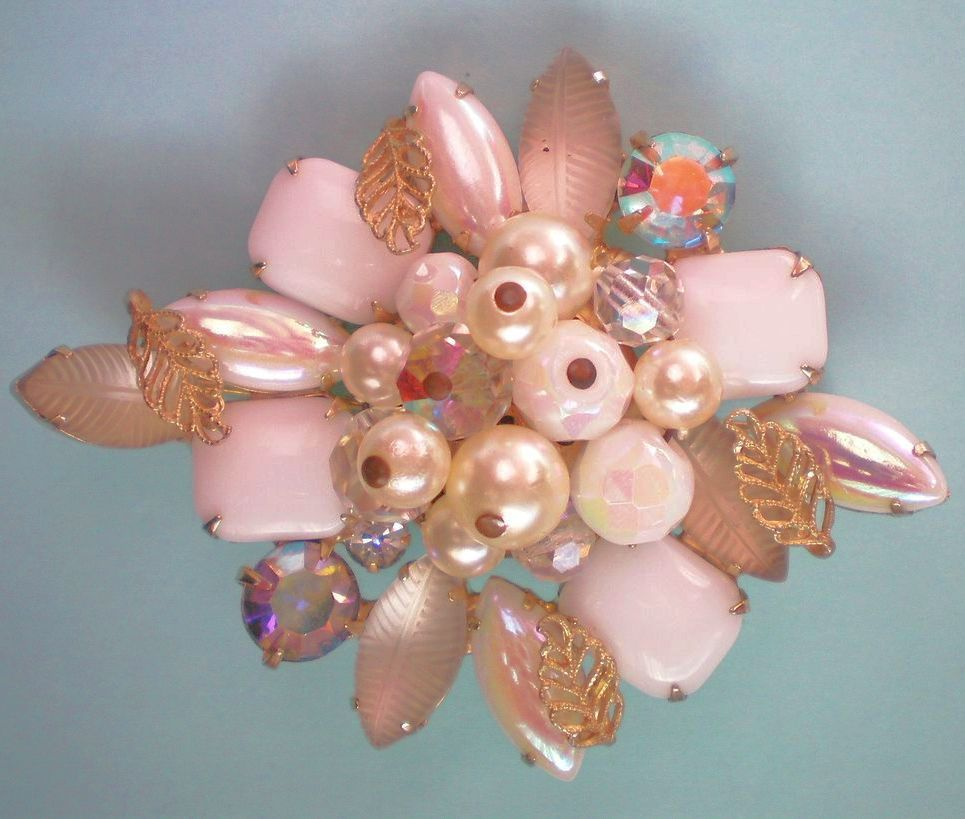 Juliana Milk Glass, AB, & Faux Pearl Brooch