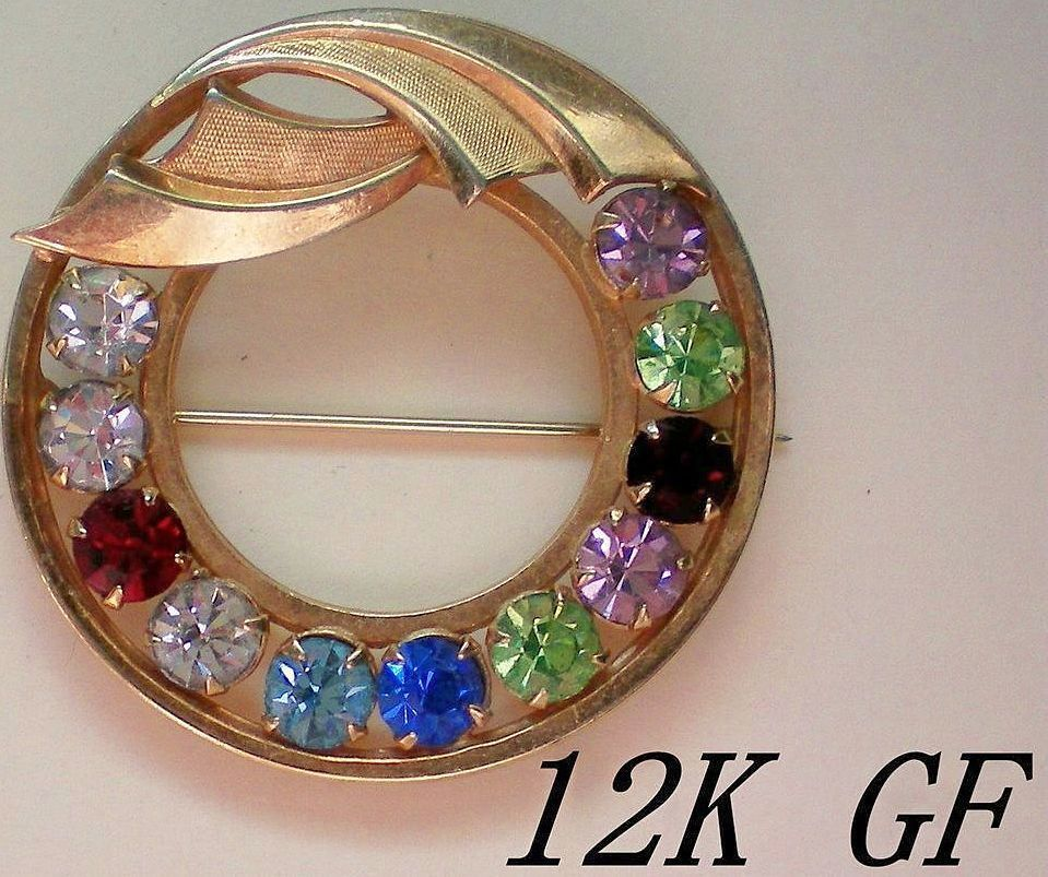 12K GE Gold Catamore Circle Brooch