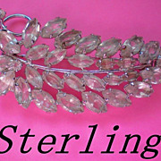 Sterling Silver and Crystal Brooch ~ Signed Carl Art / 1940's