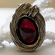 Brooch / Fur / Dress Clip with Large Red Foil Backed Cabochon