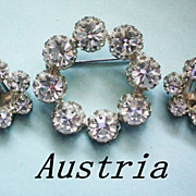Austrian Crystal Wreath Brooch and Earrings