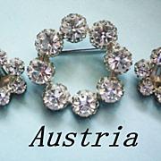 Austrian Crystal Wreath Brooch and Earrings