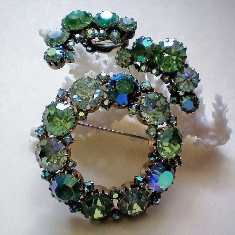 Juliana Fiery Green Aurora Borealis Brooch & Clip Earrings