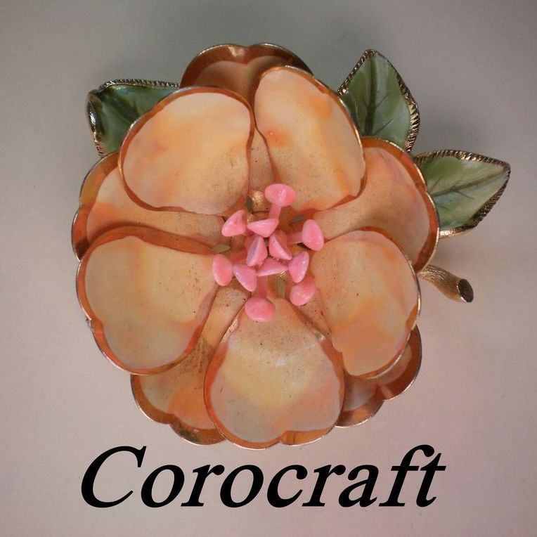 Signed Corocraft Enamel and Metal Flower Brooch