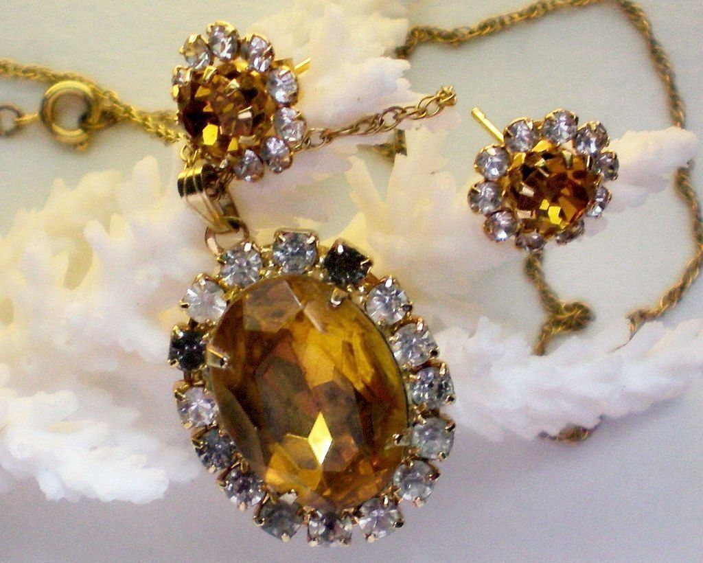 Citrine Necklace and Pierced Earring Set