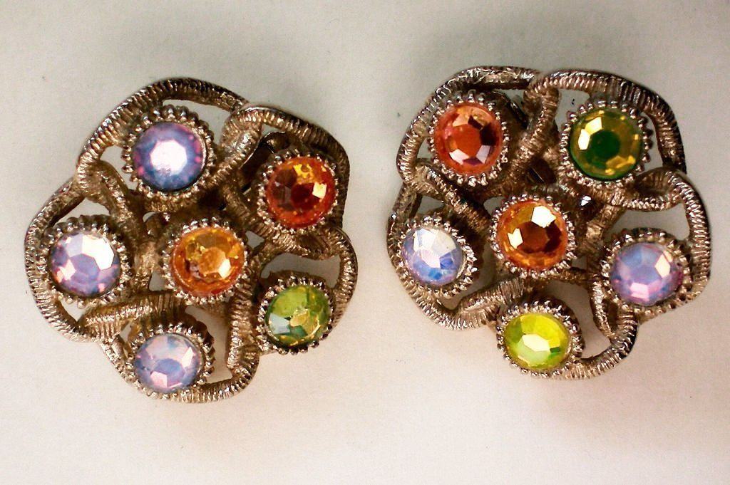 Sarah Coventry Iridescent Moon Lites Clip Earrings From