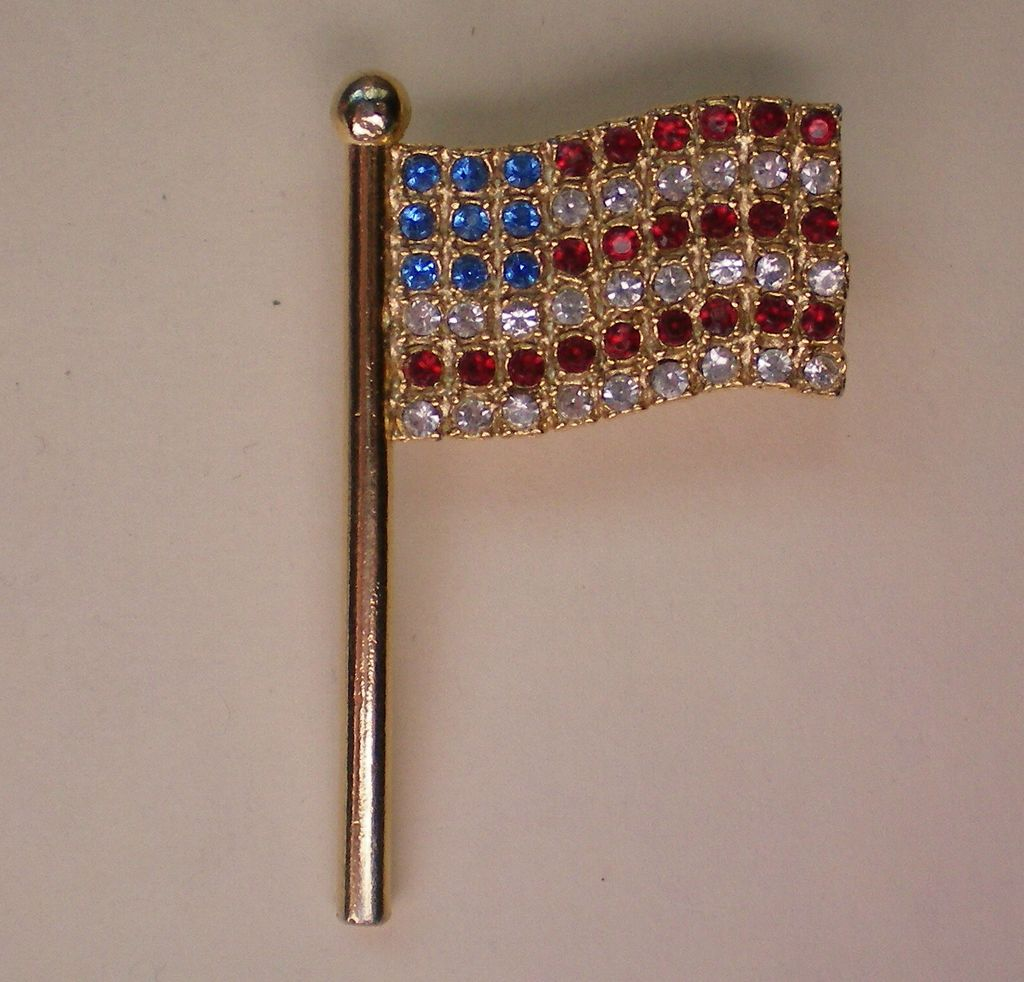 American Flag Pin with Red, White, Blue Crystals