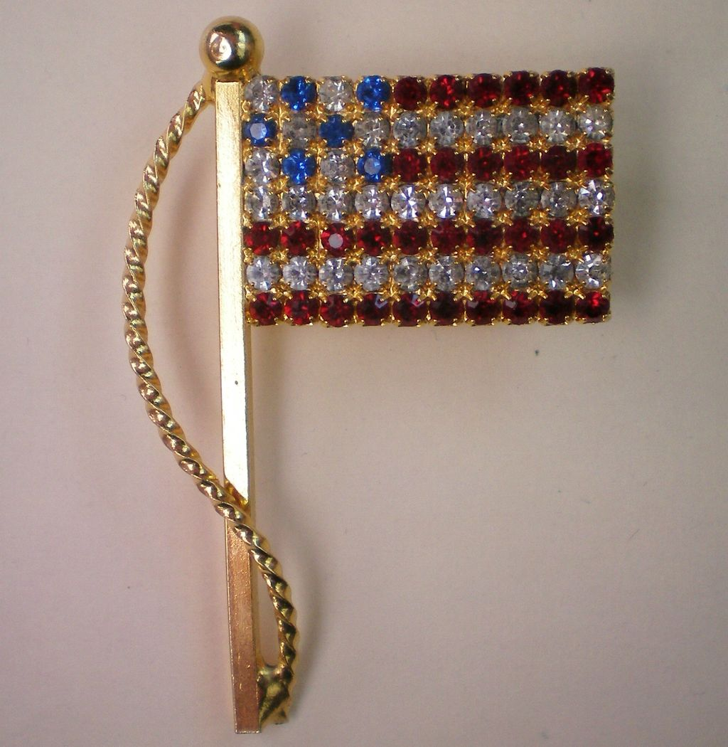 American Flag Pin with Red, White, Blue Rhinestones