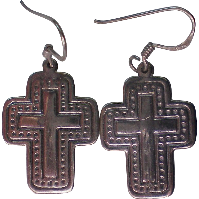 Sterling Silver Cross Pierced Earrings