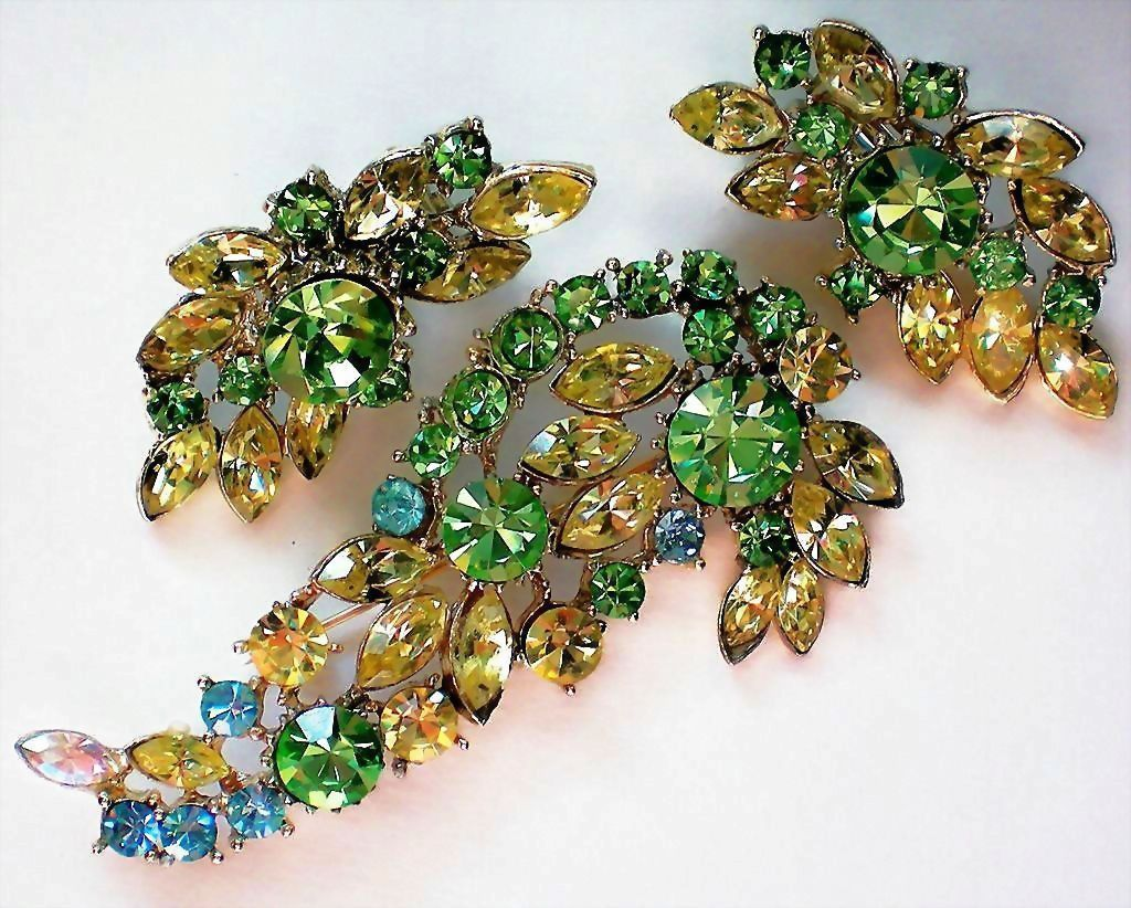 Glitzy Green, Amber, Blue Brooch and Earrings
