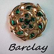 Barclay Emerald Glass Pin