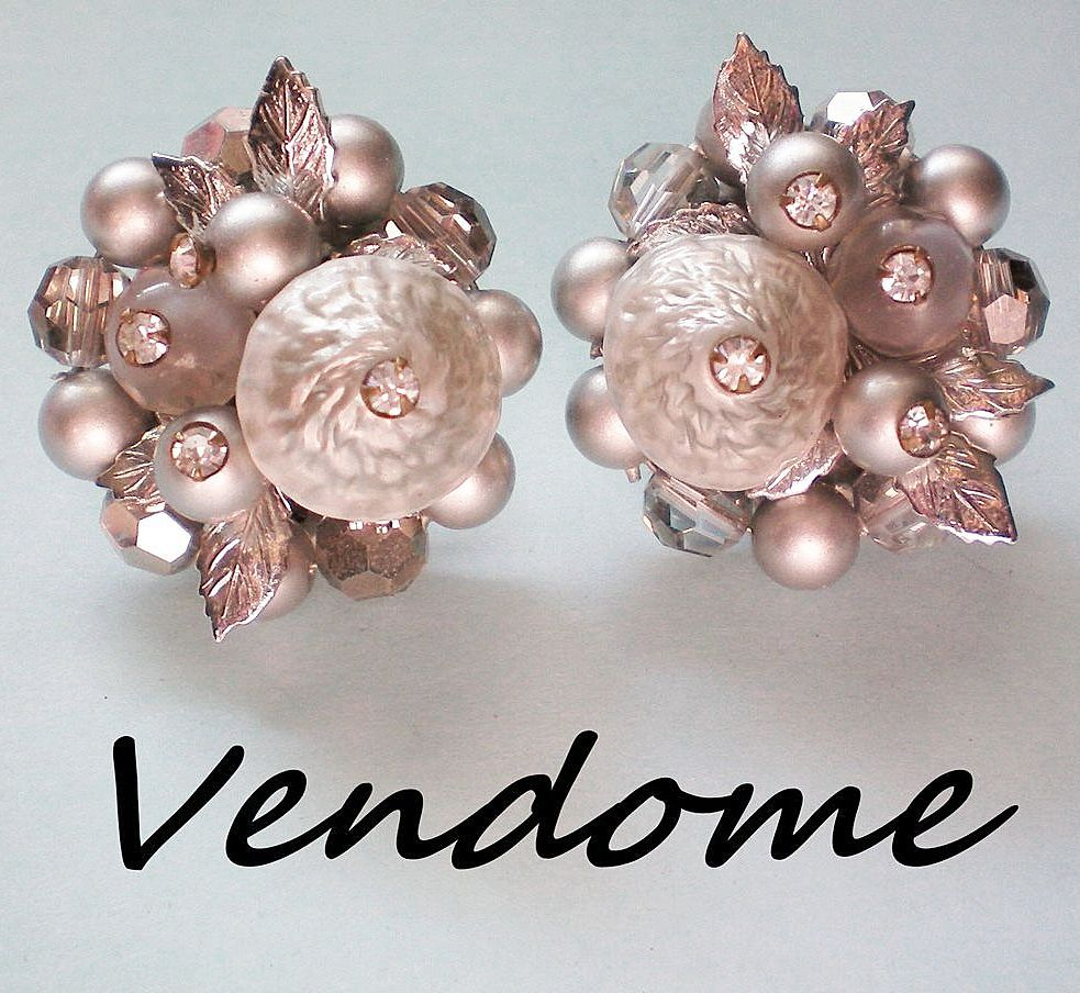 Vendome Silver Gray Beaded Earrings