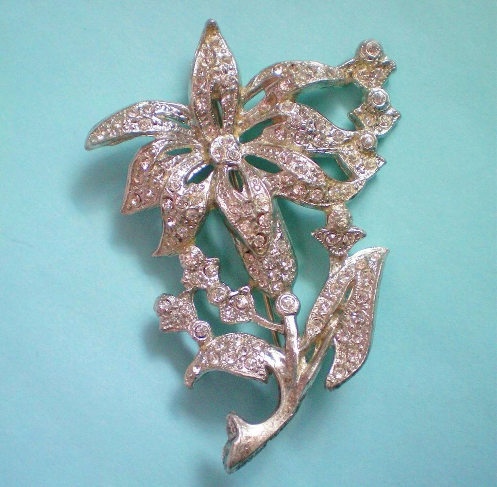 Rhinestone Iris Flower Brooch with Pot Metal Base