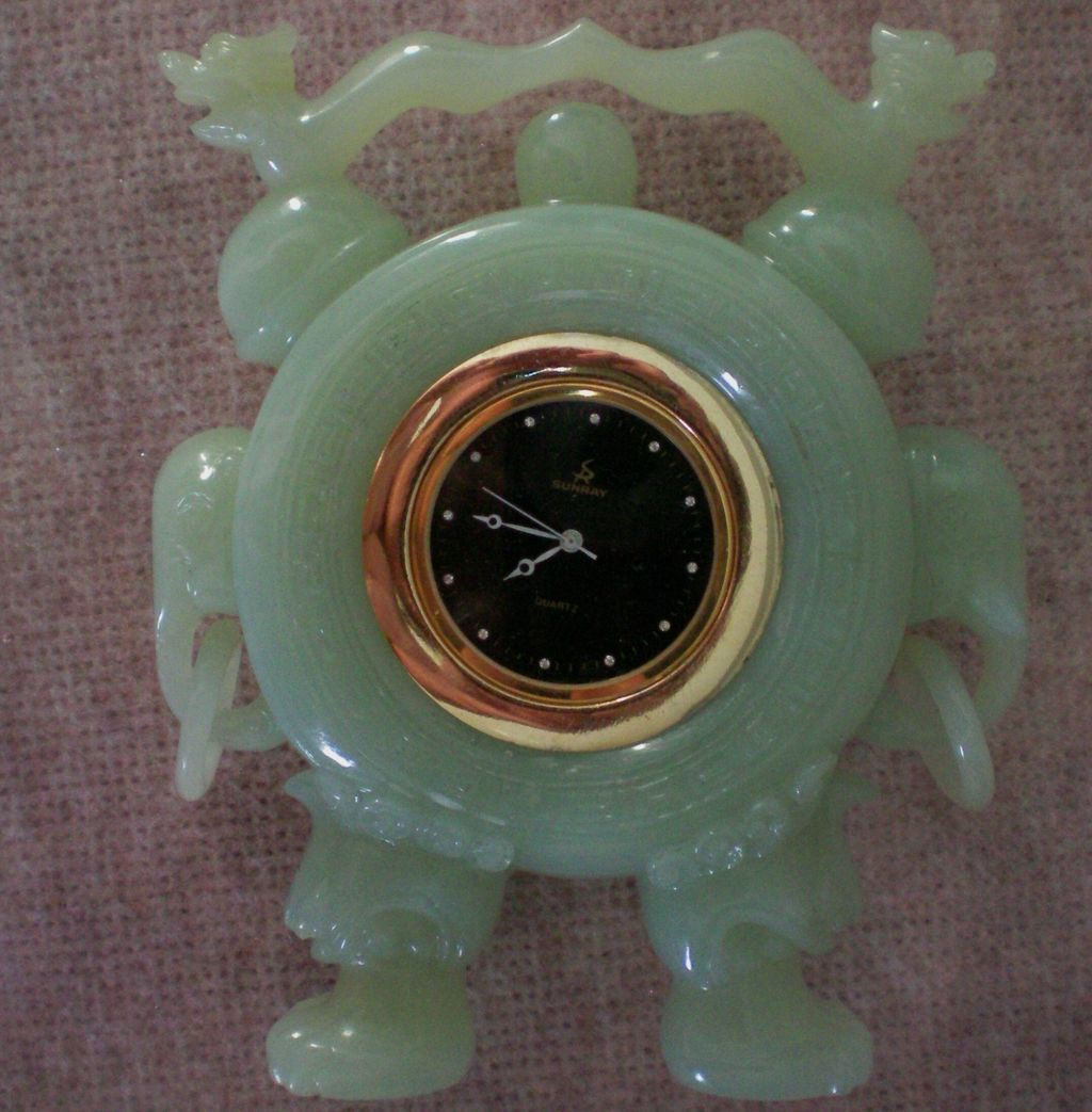 Carved Jade Chinese Dragon / Elephant Clock
