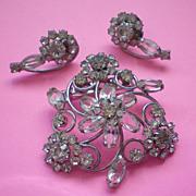 Crystal and Rhinestone Brooch & Pierced Earrings