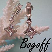 Bogoff Crystal Rhinestone Dangle Earrings