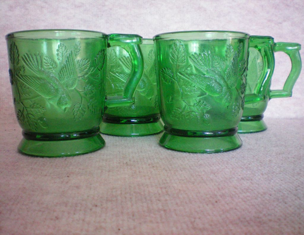 Mosser Glass Cups with Bird – Set of Four