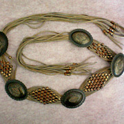 Concho and Leather Belt with Beads