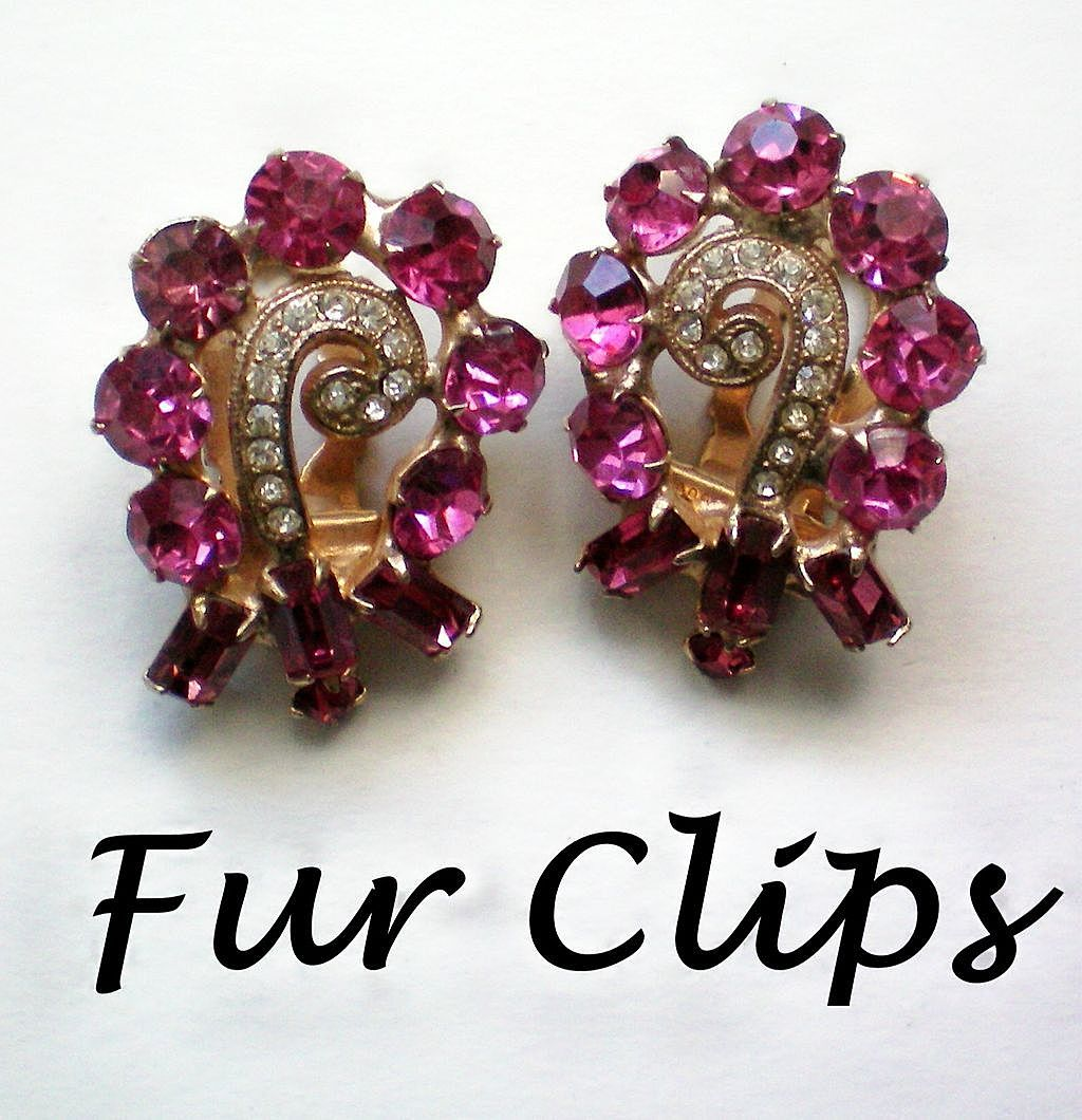 Fabulous Glitzy Matching Pink Fur / Shoe Clips