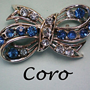 Coro Blue Rhinestone Bow Pin