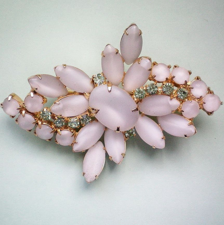 Moonstone White Glass Vintage Brooch