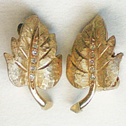 Gold tone Leaf Clip Earrings by Charel