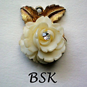 BSK Celluloid Rose Pendant - Book Piece
