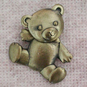Movable Teddy Bear Pin Signed JJ / Jonette Jewelry